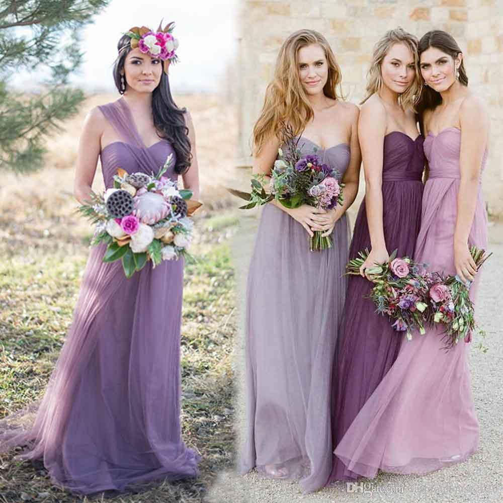 Purple tulle country convertible bridesmaid dresses long ruched purple tulle country convertible bridesmaid dresses long ruched modest maid of honor dress plus size wedding guest gowns bridesmaid dresses purple ombrellifo Gallery