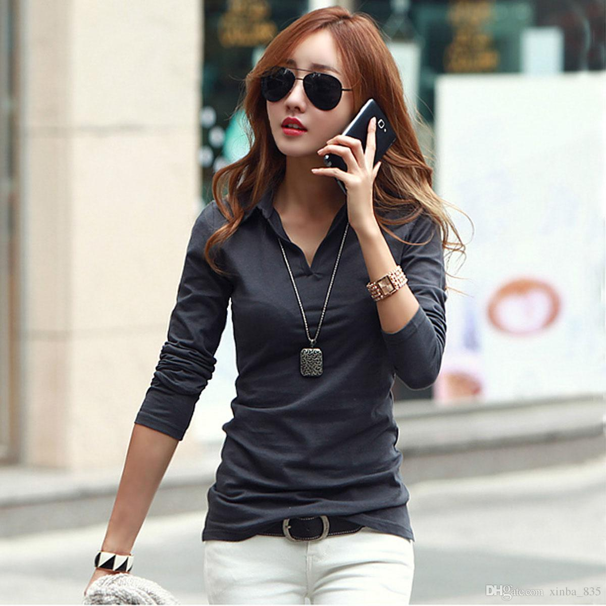 2018 Polo Shirt Women Wife Spring And Summer New Korean Pure Color Cotton Short Sleeved T Tops Tumblr V Collar WomenS Clothing 3005 From Xinba 835