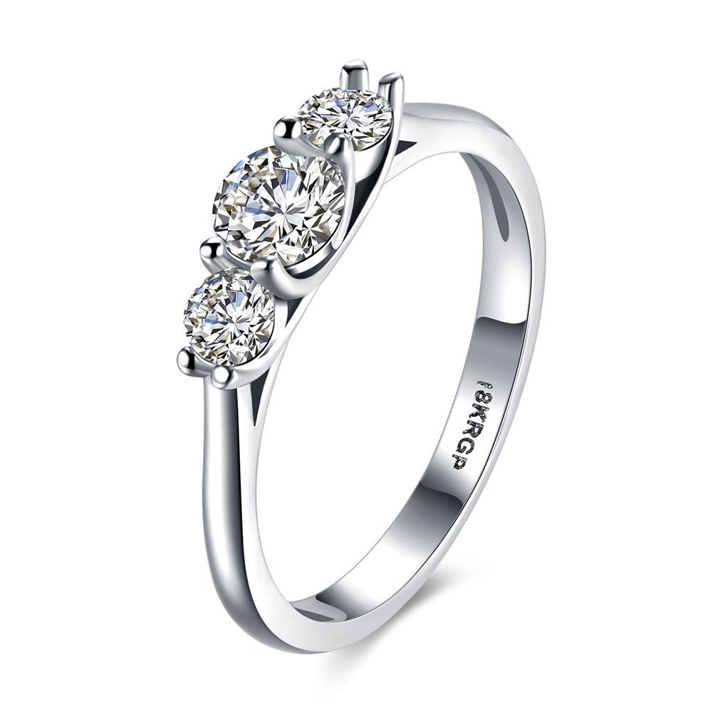 New Design Fashionable Plated White Gold Wedding Rings Series