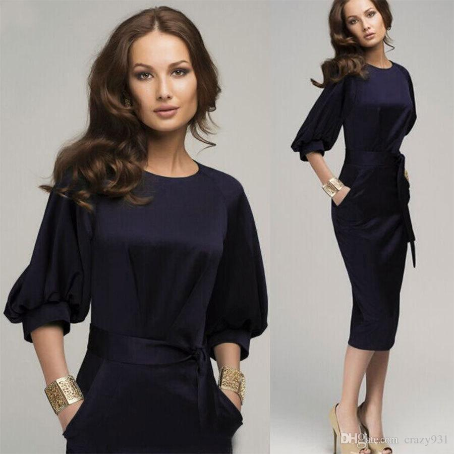 Autumn New Women Clothing High Quality Lantern Sleeve Chiffon Dress Female  Fashion OL Slim Medium Length Pencil Dress Blue Dresses Juniors Black Womens  ... 8306d2435