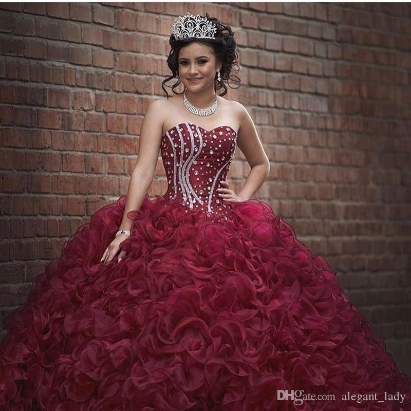 Burgundy Plus Size Ball Gown Sweet 16 Quinceanera Dresses
