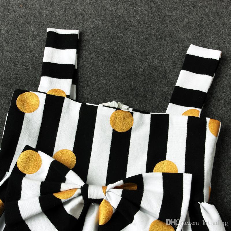Meninas listrado pontos cintas vestido definir grande arco headband + ouro metálico dots print dress roupas de verão do bebê roupas bonitos para 1-2T