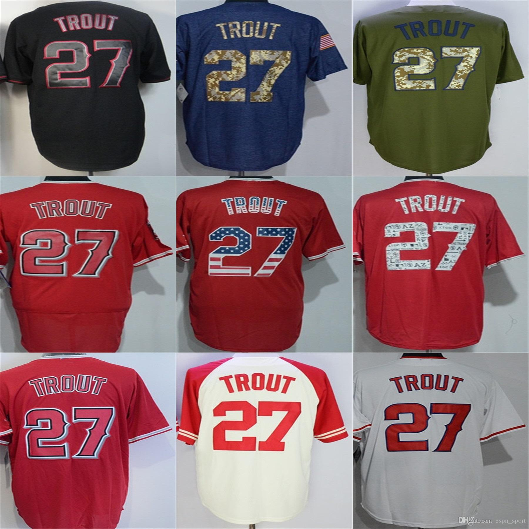 99b5a6926 ... authentic los angeles 27 mike trout jersey 100 stitched mens womens  kids toddlers white red black ...