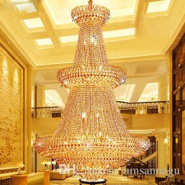 American gold crystal chandeliers lamp modern golden crystal american gold crystal chandeliers lamp modern golden crystal chandeliers lights fixture european hotel hall lounge bar home indoor lighting kitchen aloadofball Images
