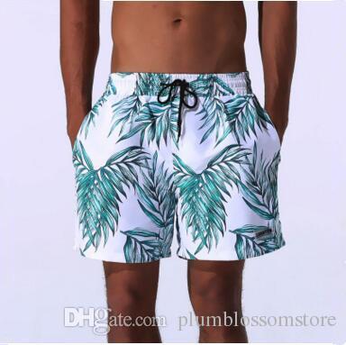 bf0dabd538 Moda Flora Impresso Shorts Homens Calções de Praia Verão Calças de  qualidade Superior Swimwear Masculino Natação Surf Swim quick-dry running  Sport troncos