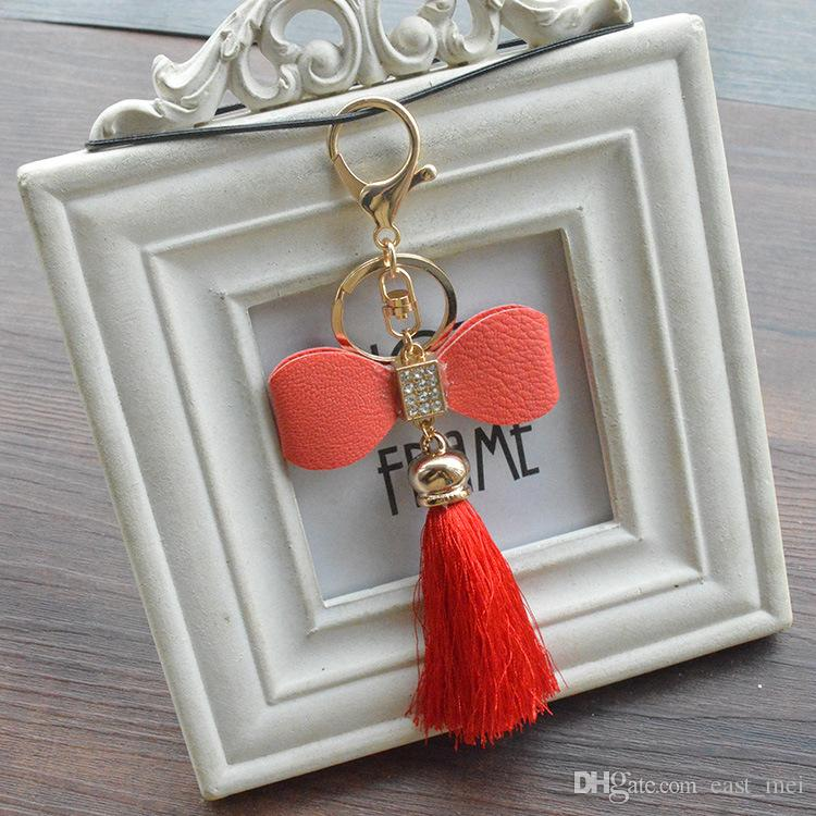 Best gift Fashion ice silk tassel spike bag pendant hand diy bow couple key ring buckle ornaments KR334 Keychains a