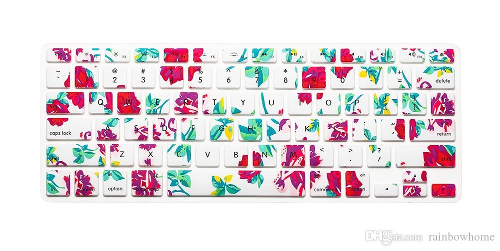 Silicone Flower Decal Rainbow Keyboard Cover Keypad Skin Protector For Apple Mac Macbook Pro 13 15 17 Air 13 Retina 13 US layout