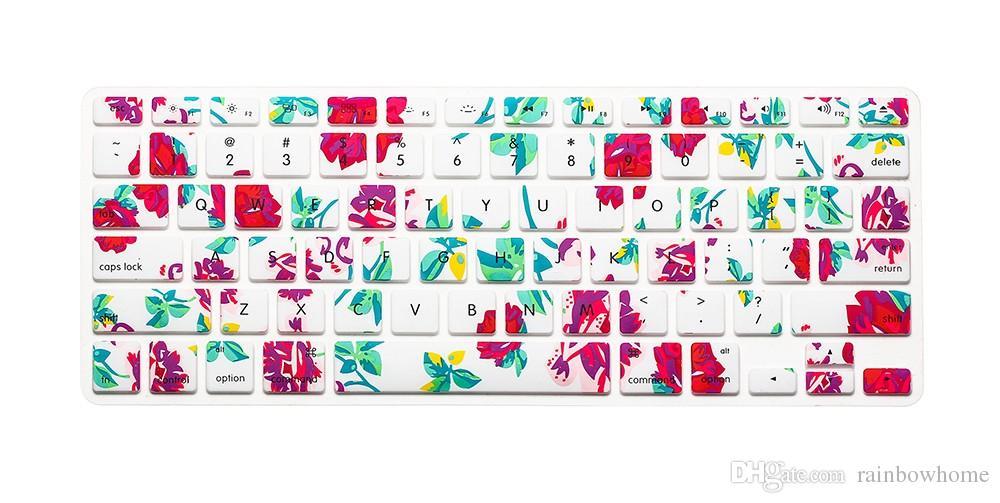 Silikon Çiçek Çıkartması Gökkuşağı Klavye Kapak Tuş Cilt Koruyucu Için Apple Mac Macbook Pro 13 15 17 Hava 13 Retina 13 ABD OEM