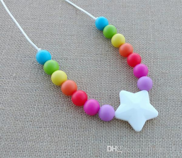 Silicone Teething Necklace Colorful Rainbow Round Beads Five Star Pendant Baby Toddler Chewelry Necklace Teether Birthday Shower Gift