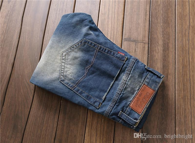 Famous Brand Mens Jeans Trendy Stretch Blue Denim Men Slim Fit Jeans Trousers Pants Size 30 32 34 35 36 38 Jean