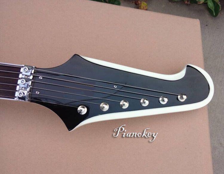Beyaz renk firebird tarzı gitar, Yüzer köprü, Özel elektro gitar kabul, Ücretsiz kargo