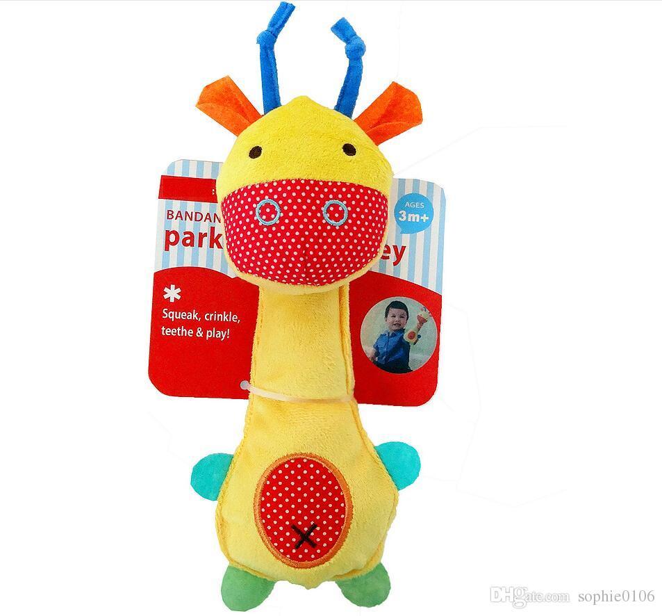 Baby Kids Soft Animal Handbell Rattles BB Stick Bed Stroller Bell Developmental Kid Toy