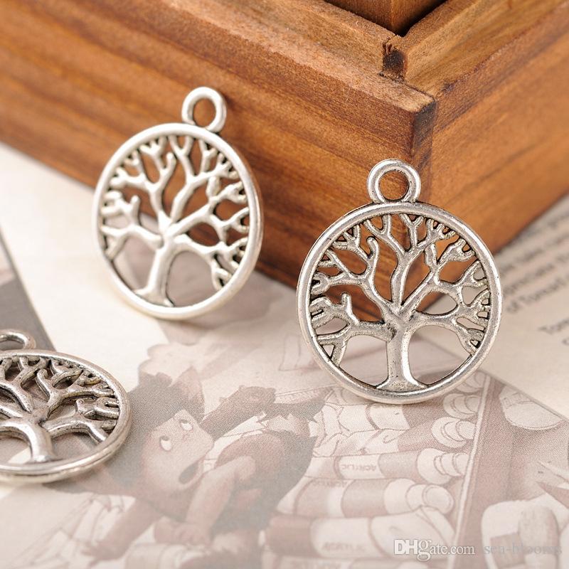 Árvore Da Vida Sorte Charme Pingente para DIY Crafting Chaveiro Pulseira Colar de Jóias DIY Rodada Oco Pingente Acessórios B926S