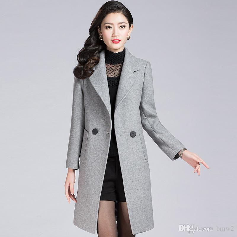 f00240510c72c 2017 Winter Woolen Coat Women Classic Gray Long Wool Blend Coats Ladies  Fashion Double Breasted Long Sleeve Warm Overcoats