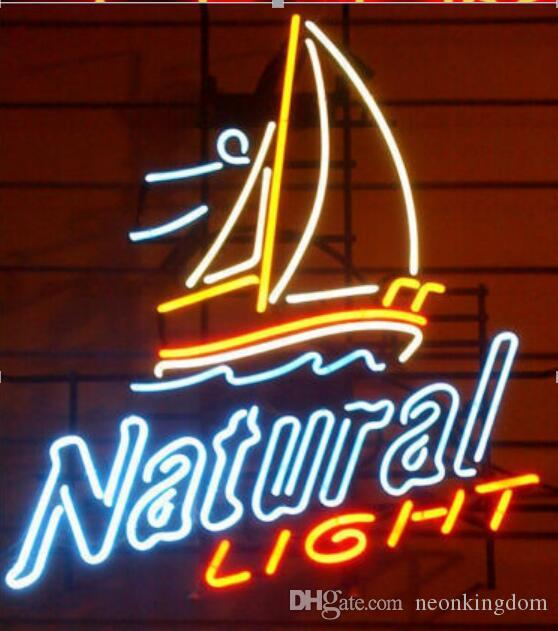 NATURAL LIGHT Neon Sign Real Glass Tube Bar Store Business Advertising Home Decoration Art Gift Display Metal Frame Size 24''X20''