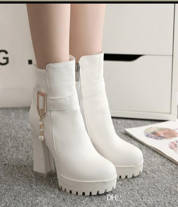 2017 Autumn winter new Thick with Women's shoes Martin boots Short tube Round head Side zipper Women High heels Single boots