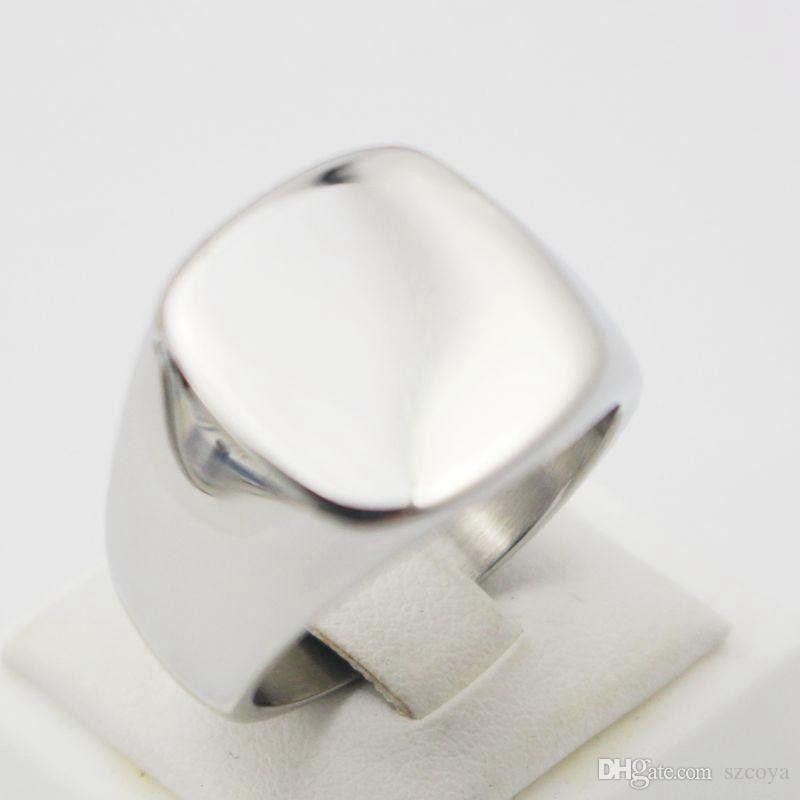 Оптовая продажа Оптовая выгравировать полированный равнина нестандартная конструкция серебряный Титан ювелирные изделия из нержавеющей стали индивидуальные перстень полоса