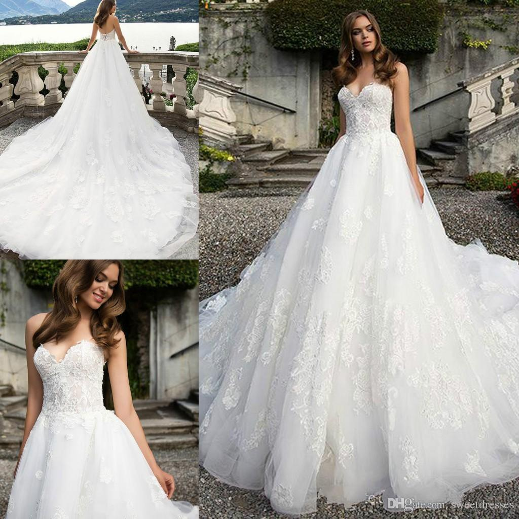 Discount Exquisite Lace White Milla Nova 2018 Church Wedding Dresses Sweetheart Train Plus Size Tulle Applique Bridal Gown Ball Bride Wear Dress