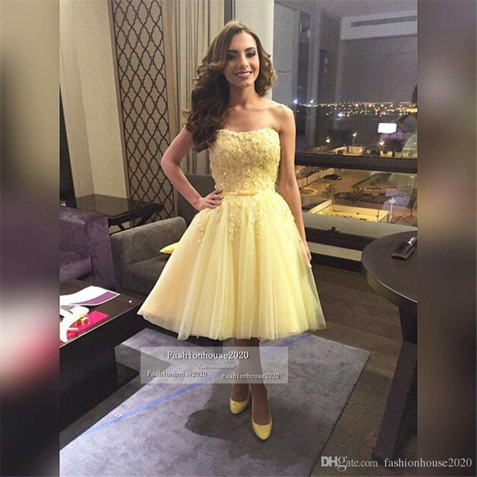 Yellow Sexy Short Prom Dresses 2017 Sweetheart Appliques Knee Length Tulle Prom Dress Cheap Formal Party Gowns Custom Made
