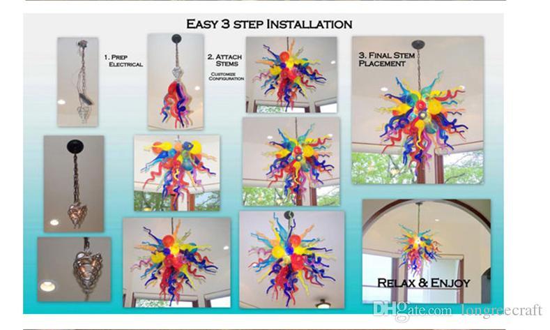 Hot Sale Elegant Art Glass Lamps 110/220v AC Led Stylish Purple and Clear Modern Lighting Fixture Chandeliers