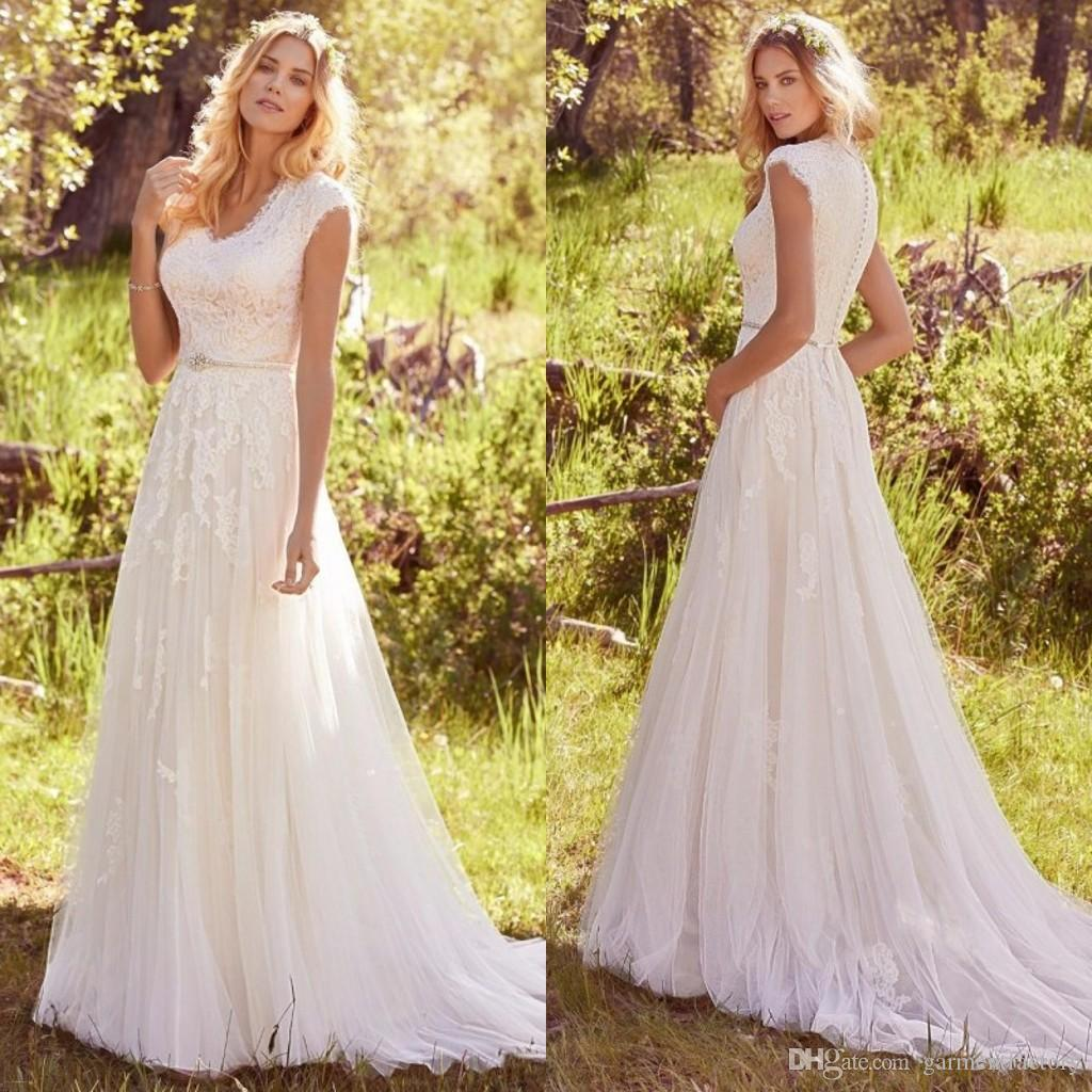 Discount Modest Country Wedding Dresses 2017 Small V Neck Capped ...