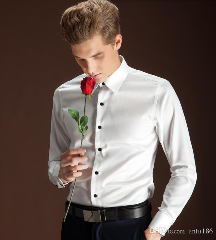 23520ee55d La camicia degli uomini di ultima moda su misura uomini camicia da uomo  bianco camicia da uomo d affari di buona qualità camicia formale a maniche  ...