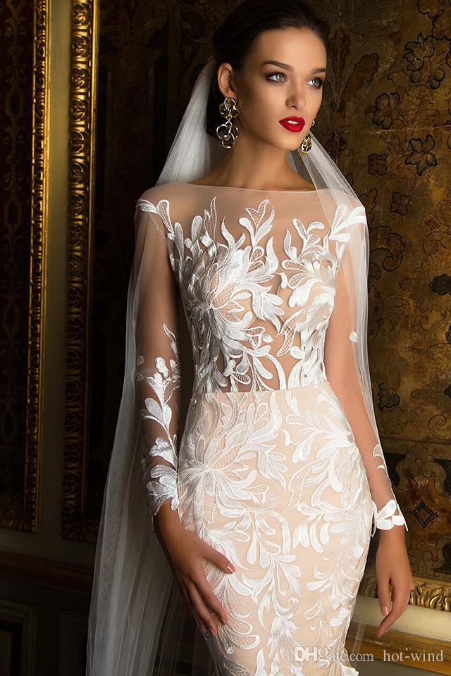 Vintage Elegant Champagne Tulle Mermaid Wedding Dresses 2017 Bateua Illusion Bodice Long Sleeve Embroidery Bridal Gowns Beach Wedding Gowns