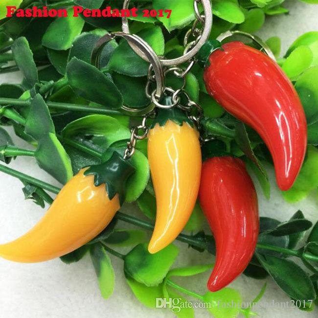 Resin Red Pepper Charm Vintage Silver Keychain Ring For Keys Car DIY Bag Key Chain Handbag Jewelry Gift Accessories