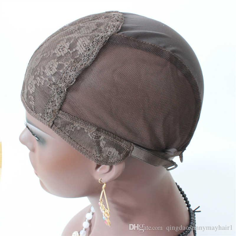 Casquettes de perruque juive S / M / L pour la fabrication de perruques uniquement bonnet de tissage en dentelle extensible avec bretelles réglables au dos de haute qualité