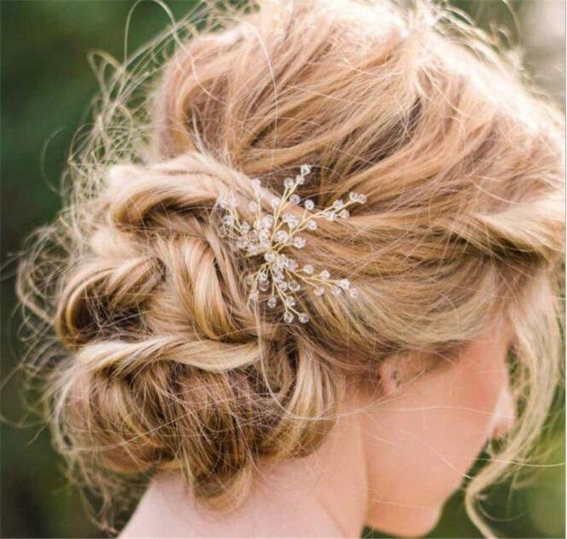 Wholesale Vintage Wedding Bridal Crystal U Hair Pins Headpieces Jewelry Hair Clips Beaded Headdress Silver Princess Queen Party Tiara Crown