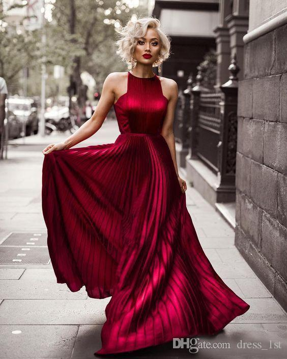 Fashion 2017 New Dark Red Elastic Satin Like Silk Pleats A-line Prom Dresses Long Cheap Halter Formal Party Gowns Custom Made EN1163