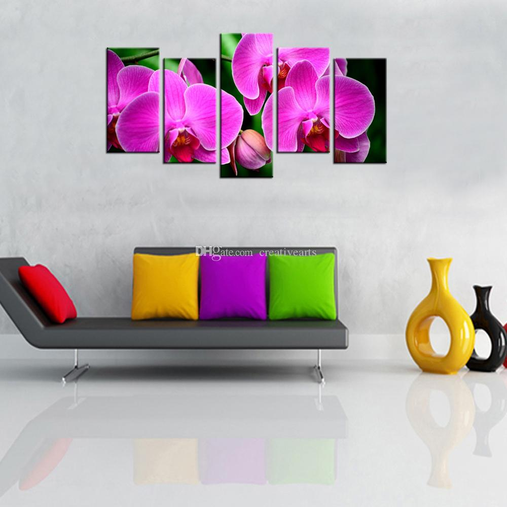 HD Flower Picture Canvas Prints Blooming Butterfly Orchid Canvas Artwork Giclee Prints for Home and Office Decoration 5 Panels