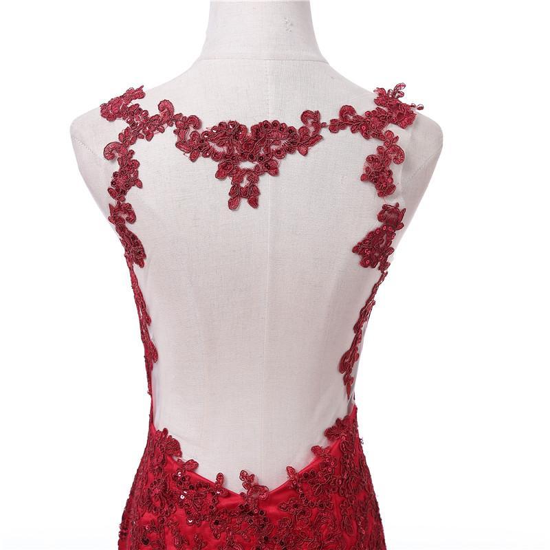 2017 Dark Red Abendkleider Straps Appliques Spitze Meerjungfrau Lange Illusion Real Photo Prom Party Kleider Luxuriöse Hochzeiten Gast Kleid