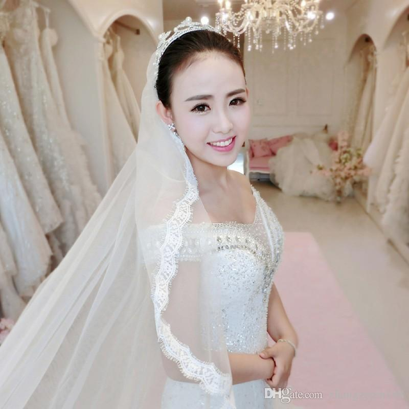 2.8mx1.5m Long White Bridal Veils Soft Tulle with Lace Edge Long Wedding Veils High Quality Wedding Accessories Cheap