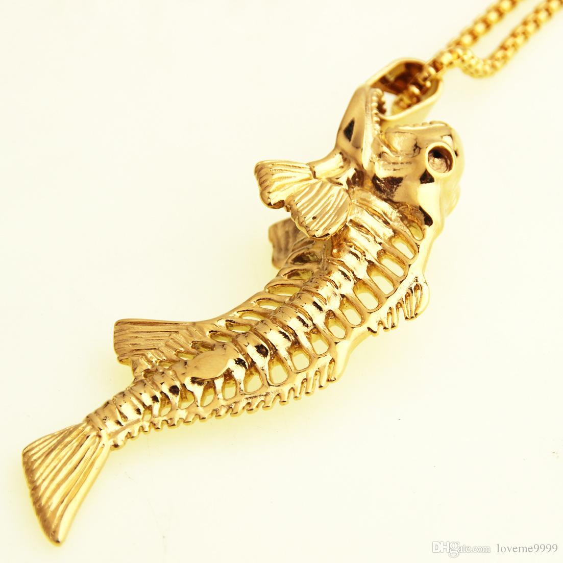 Хип-хоп рыбья кость рыболовный крючок кулон ожерелья панк-стиль мужчины нержавеющая сталь 316L коробка цепи 2 цвета личности ювелирные изделия