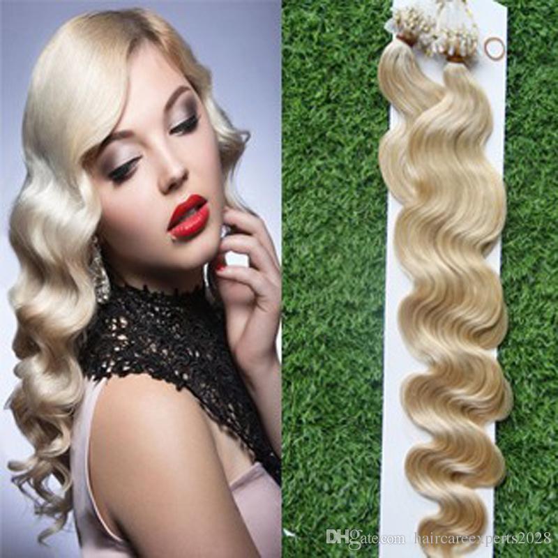 Micro Loop Rings Golden Blonde Bundles Micro Loop Hair Extensions 1g Brazilian Body Wave Blond Hair Micro Ring Hair