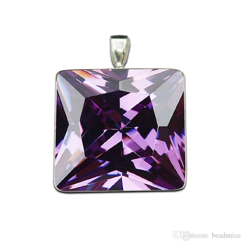 Beadsnice 925 Sterling Silver Square Pendant Base fit 25mm Cabochon Bezel Setting for DIY Jewelry Making ID26726