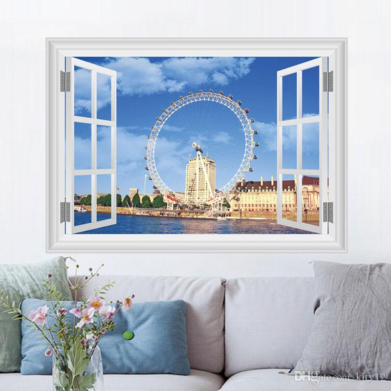 3D London Eye Wall Stickers Home Decor TV Sofa Background Landmark Fashion Room Wallpaper free shipping
