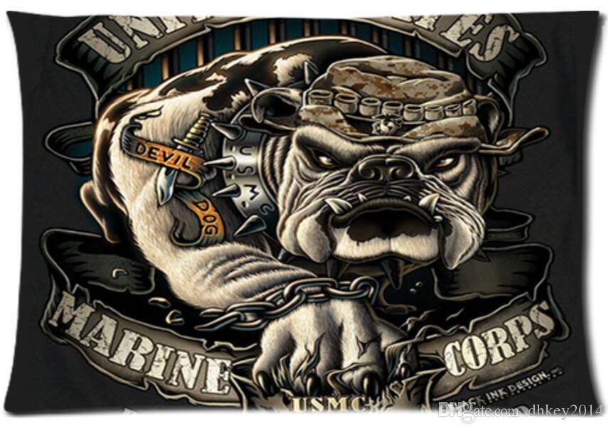 Dog Marines Corps Usmc Pillowcase Covers Standard Size 20 X 30 Inch ...