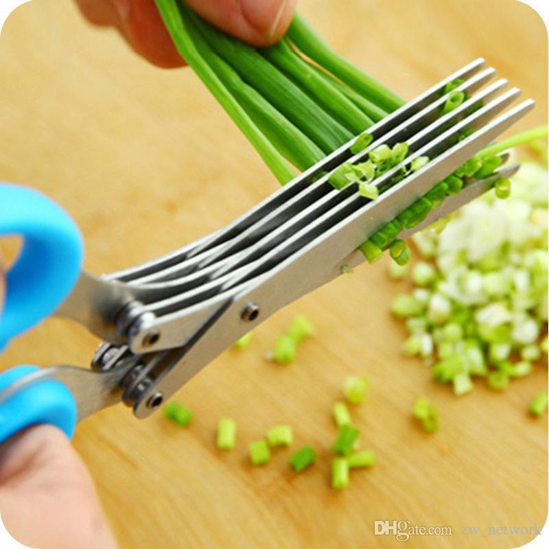 2017 NOUVEAUX couteaux de cuisine en acier 5 couches Ciseaux Sushi râpé Scallion Herb épices Ciseaux Multi fonctionnel ciseaux