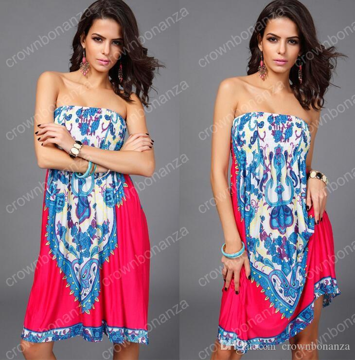 1a561b5815945 2019 Newest Summer Style Sexy Women Print Beach Bandeau Dress Hot Beachwear  Cover Up Dress Swimwear Cover Up Vestidos From Crownbonanza