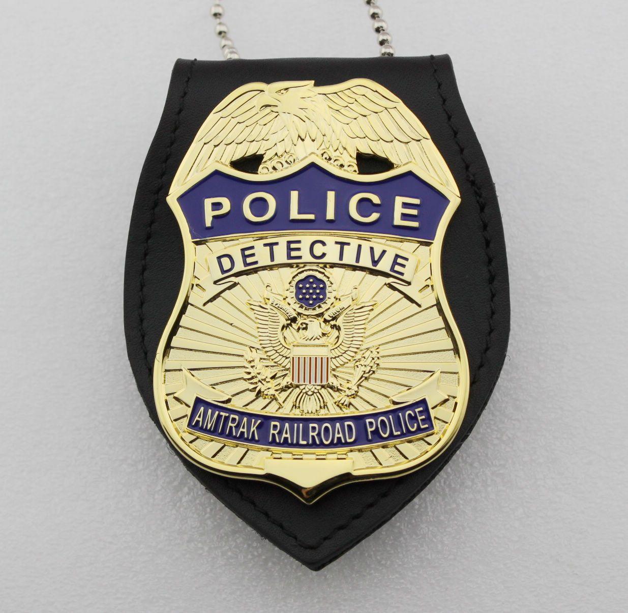 amtrak railway police detective metal badge replicdetective amtrak