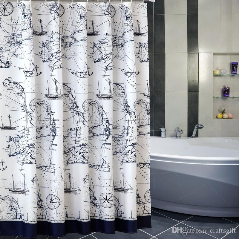 2019 Big Navigation Chart Sailboat Shower Curtains Fabric Polyester Age Of Discovery Waterproof Thicken Bathroom From