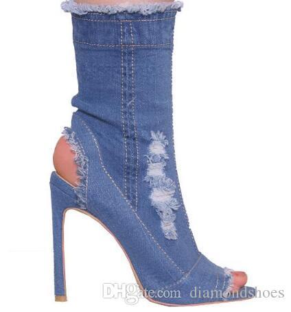 Classic Jeans Fashion Peep Toe Stiletto Ankle Boots Vogue Party Dress Woman Pumps Spring Autumn Lady Denim High Heels Boots