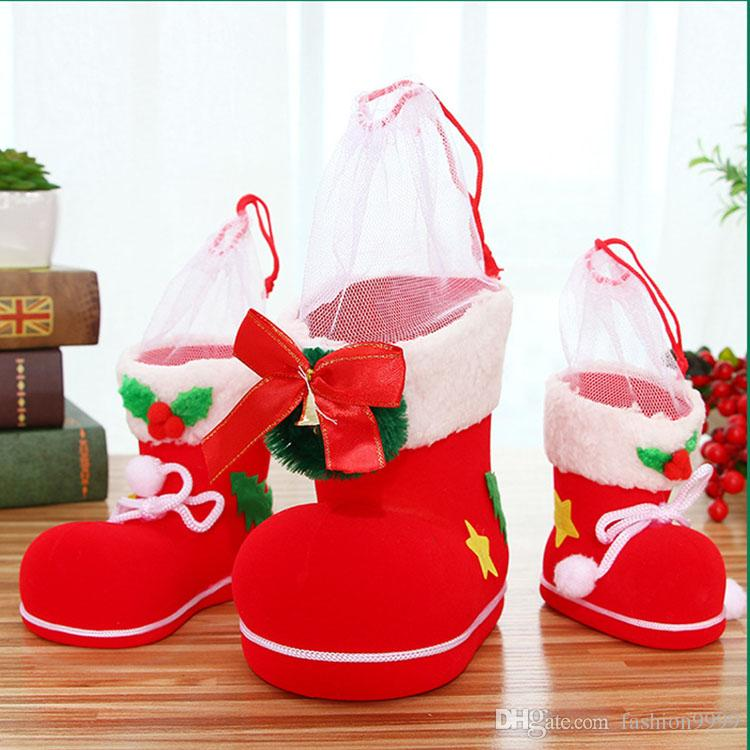 red three type christmas decorations shoes christmas stocking santa sacks christmas ornaments for children candy boots with flocking christmas items on sale - Shoe Christmas Ornaments