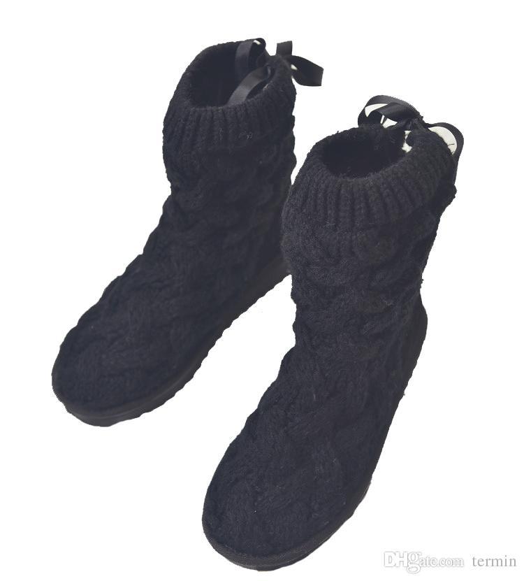 Botas femininas de Pelúcia Comprimento Sapatos de Neve Macio de Tricô Botas de Inverno Quente Antiderrapante Mulheres Botas de Neve Inferior. XDX-010
