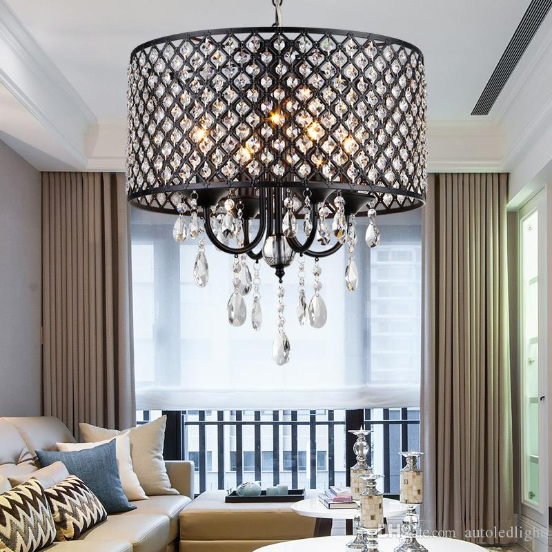 Modern Chandeliers with 4 Lights Pendant Light with Crystal Drops in Round, Ceiling Light Fixture for Dining Room, Bedroom, Living Room