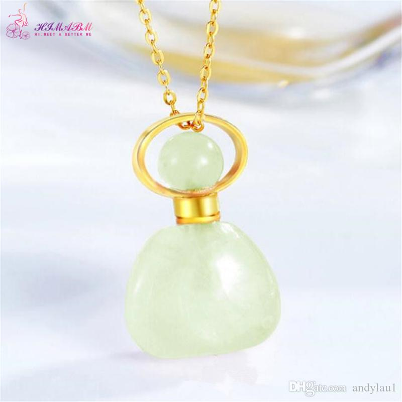 HIMABM Natural Xiuyan Jade Different Shape Perfume Bottle Scent-bottle Essential Oil Bottle Can volumetric flask Birthday