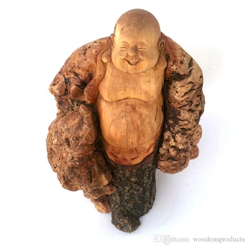 grosshandel holz buddha statue maitreya buddha holz dekoration handgemachte handarbeit lachende buddha statue figur handwerk von woodensproducts