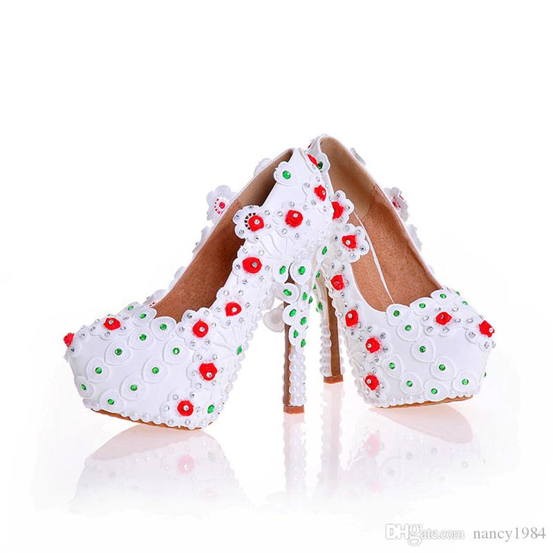 2017 Handmade White Lace Bridal Dress Shoes Genuine Leather Wedding Party Shoes Stiletto Heel Bridesmaid Shoes Prom Pumps